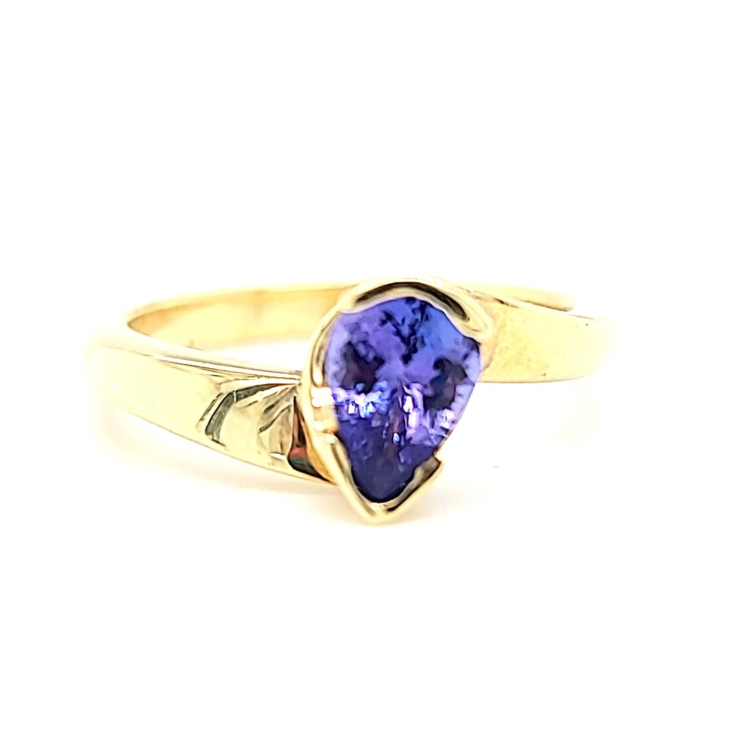 14KY Semi Bezel Pear Tanzanite Ring 0.64CT