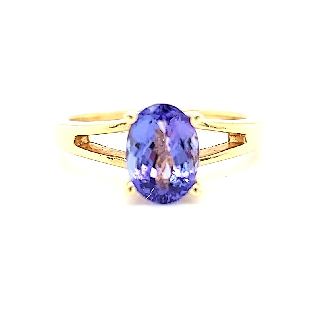 14KY Oval Solitaire Tanzanite Fashion Ring 1.51CT