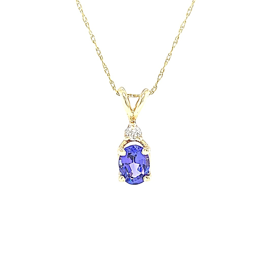 14KY 1.05CT Tanzanite Pendant With Diamond Accents