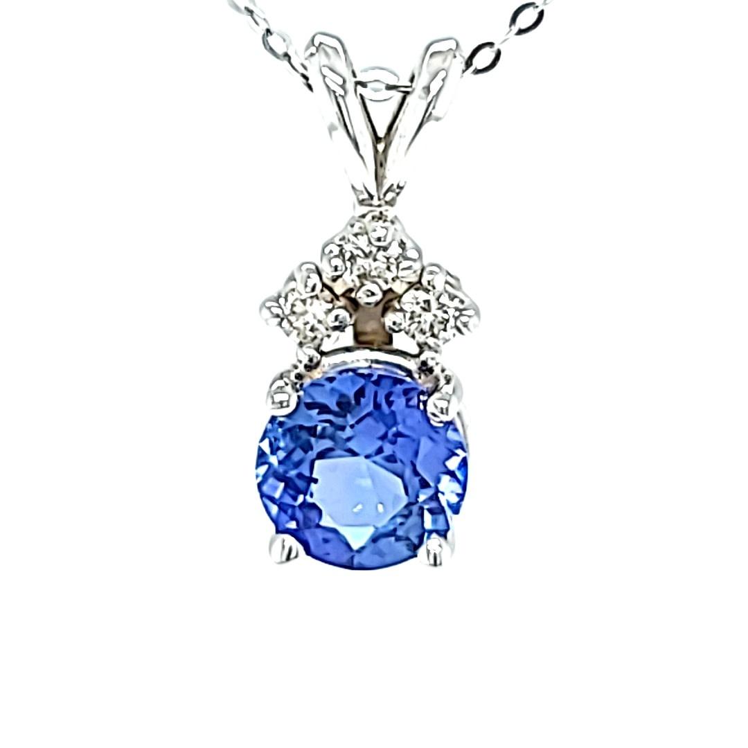 14KW Ceylon Sapphire Pendant With Diamond Accents