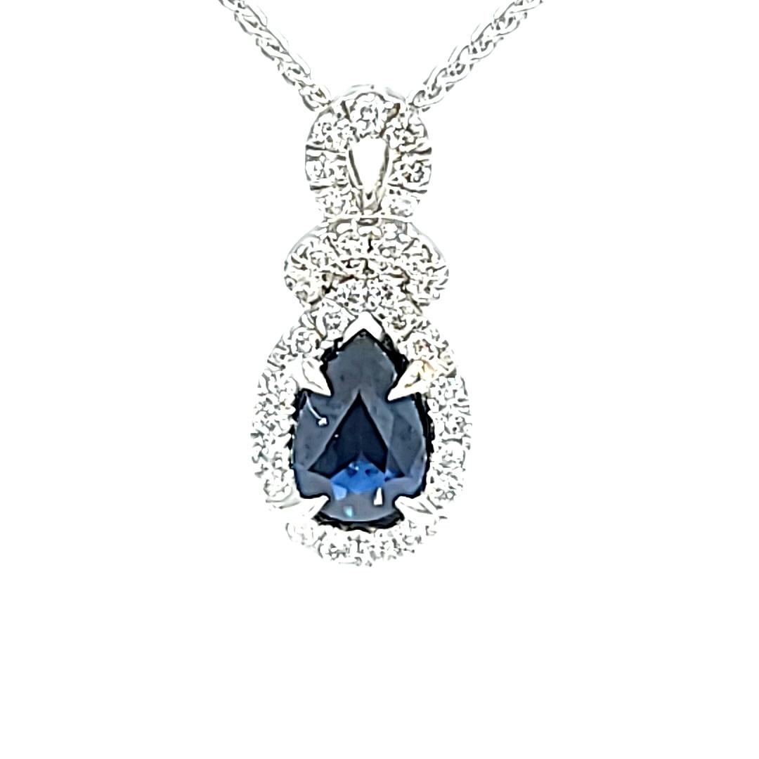 14KW Pear Sapphire Drop Halo Pendant
