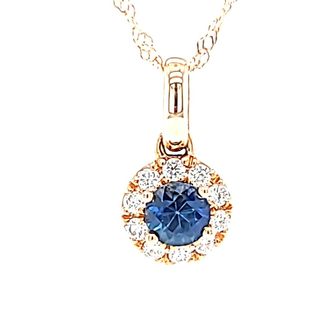 14KY Blue Sapphire Halo Pendant