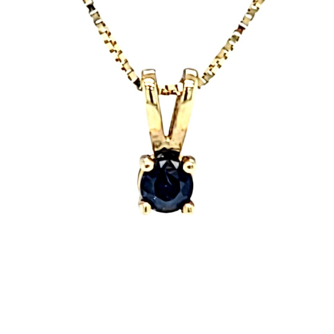 14KY 0.44CT Round Sapphire Pendant