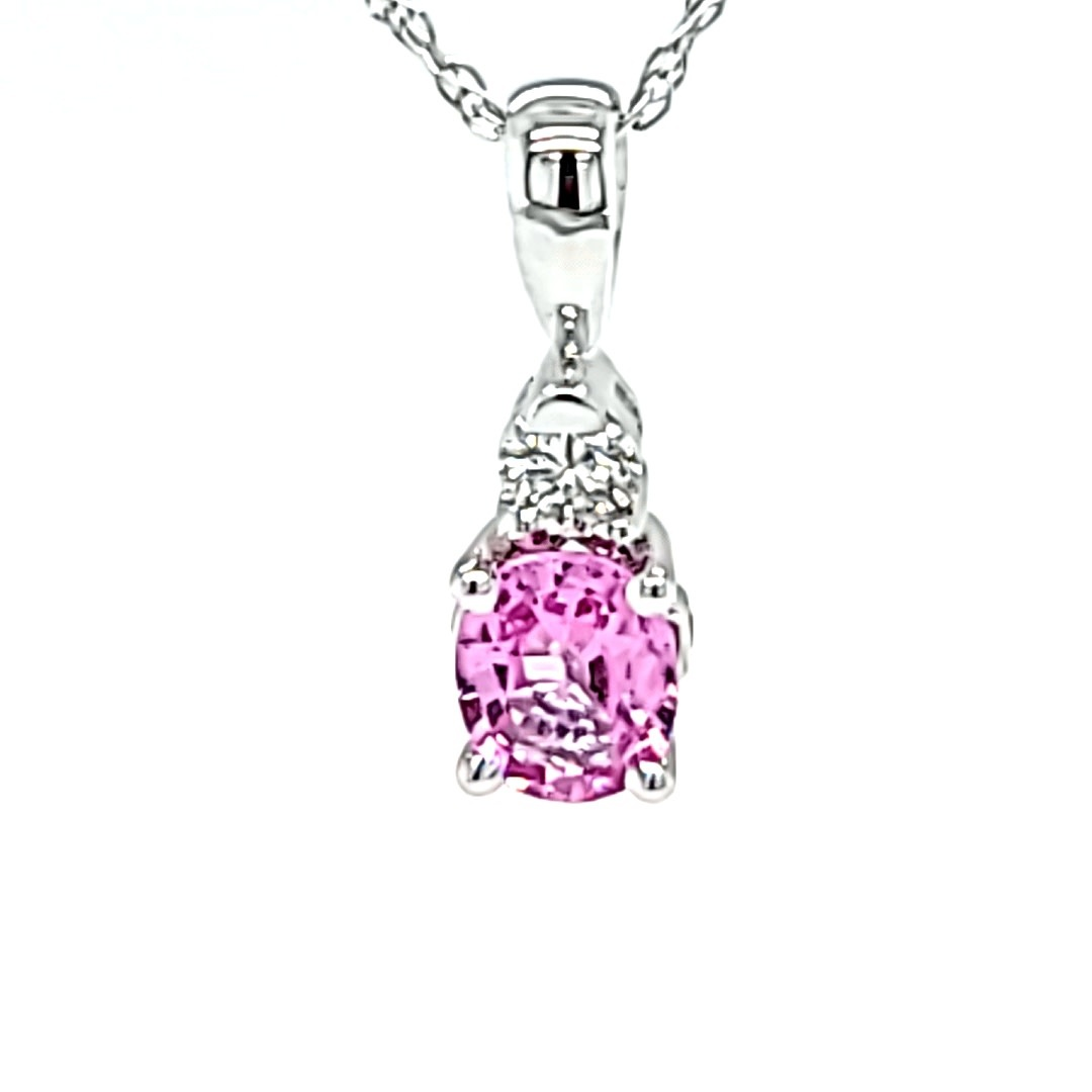 10KW Pink Sapphire and Diamond  Pendant