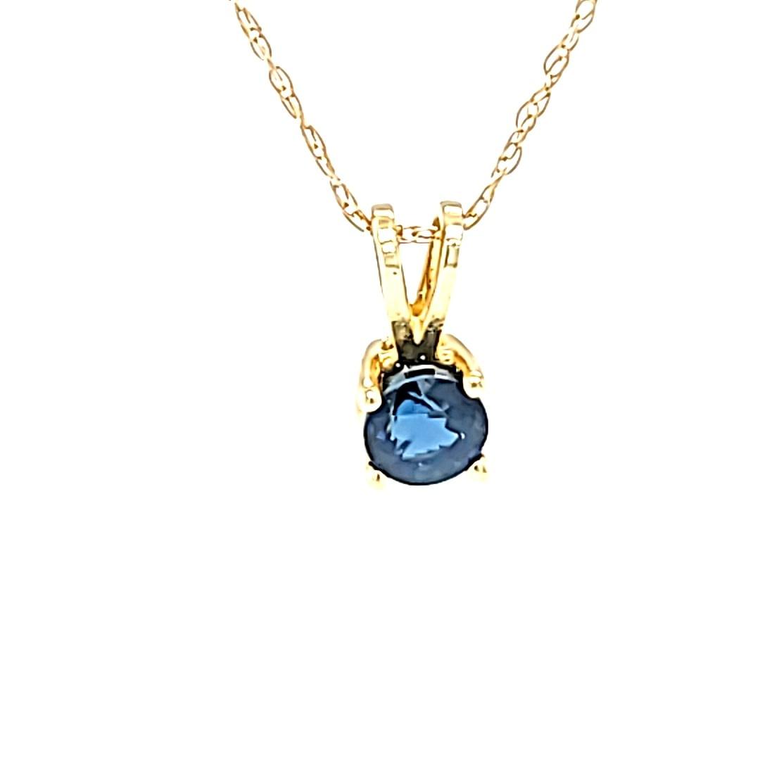 14KY 0.10CT Round Sapphire Pendant
