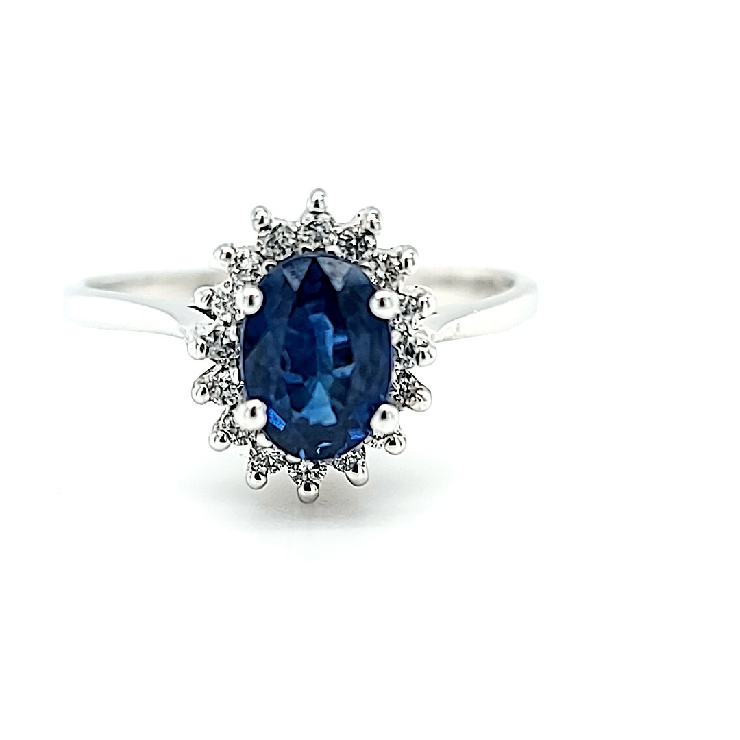 14KW Sapphire and Diamond Halo Ring