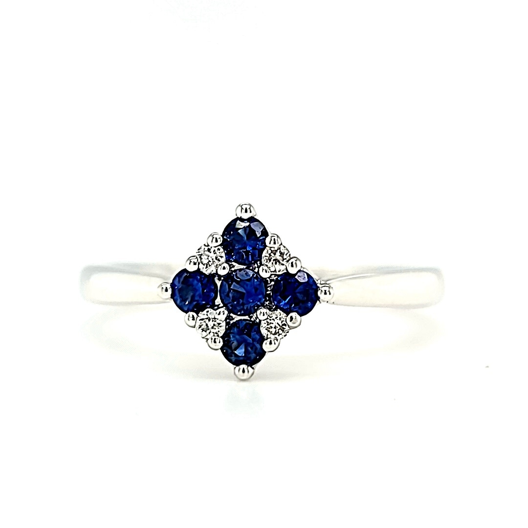 14KW Sapphire and Diamond Fashion Cluster Ring