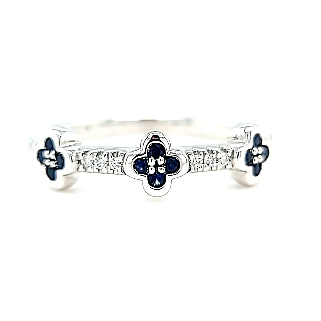 14KW Diamond and Sapphire Clover Stackable Fashion Ring