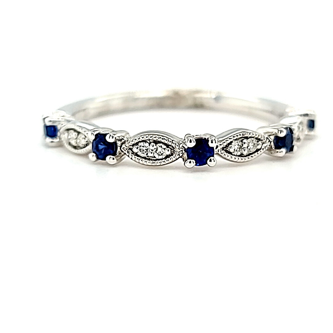 14KW Diamond and Sapphire Stackable Fashion Ring