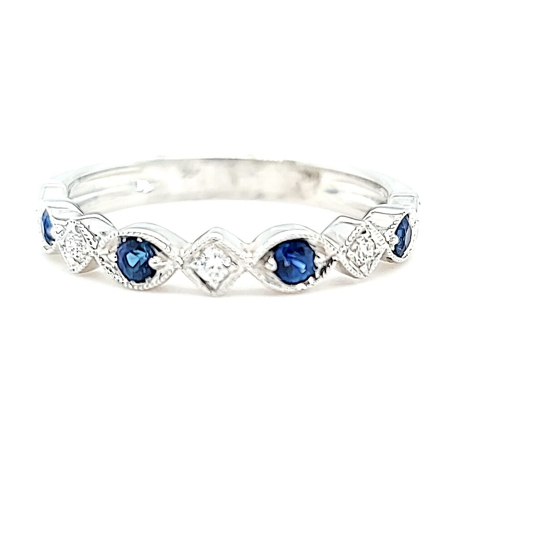 14KW Stackable Sapphire and Diamond Fashion Ring
