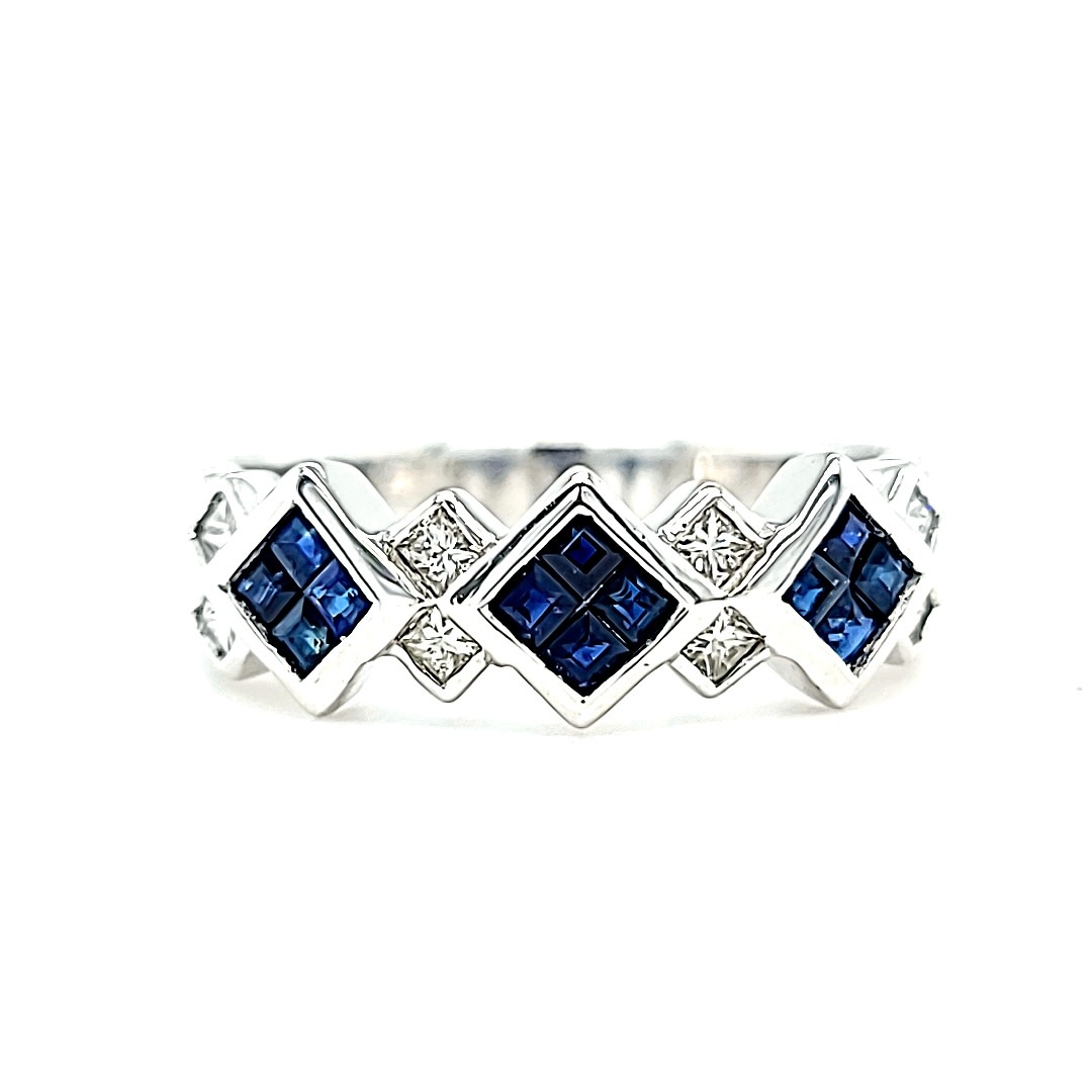 14KW Sapphire and Diamond Stackable Ring