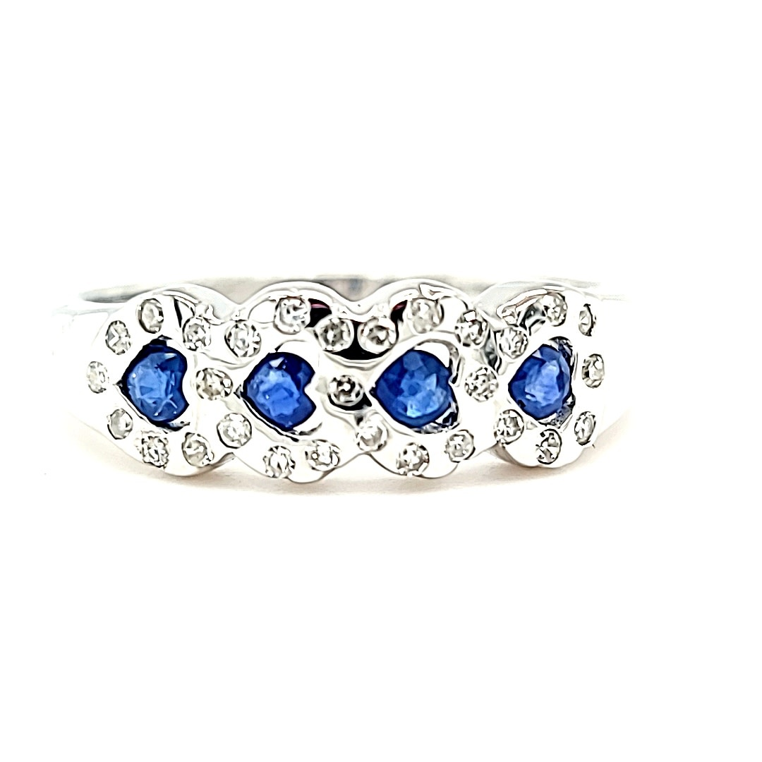 14KW Diamond and Sapphire Heart Band