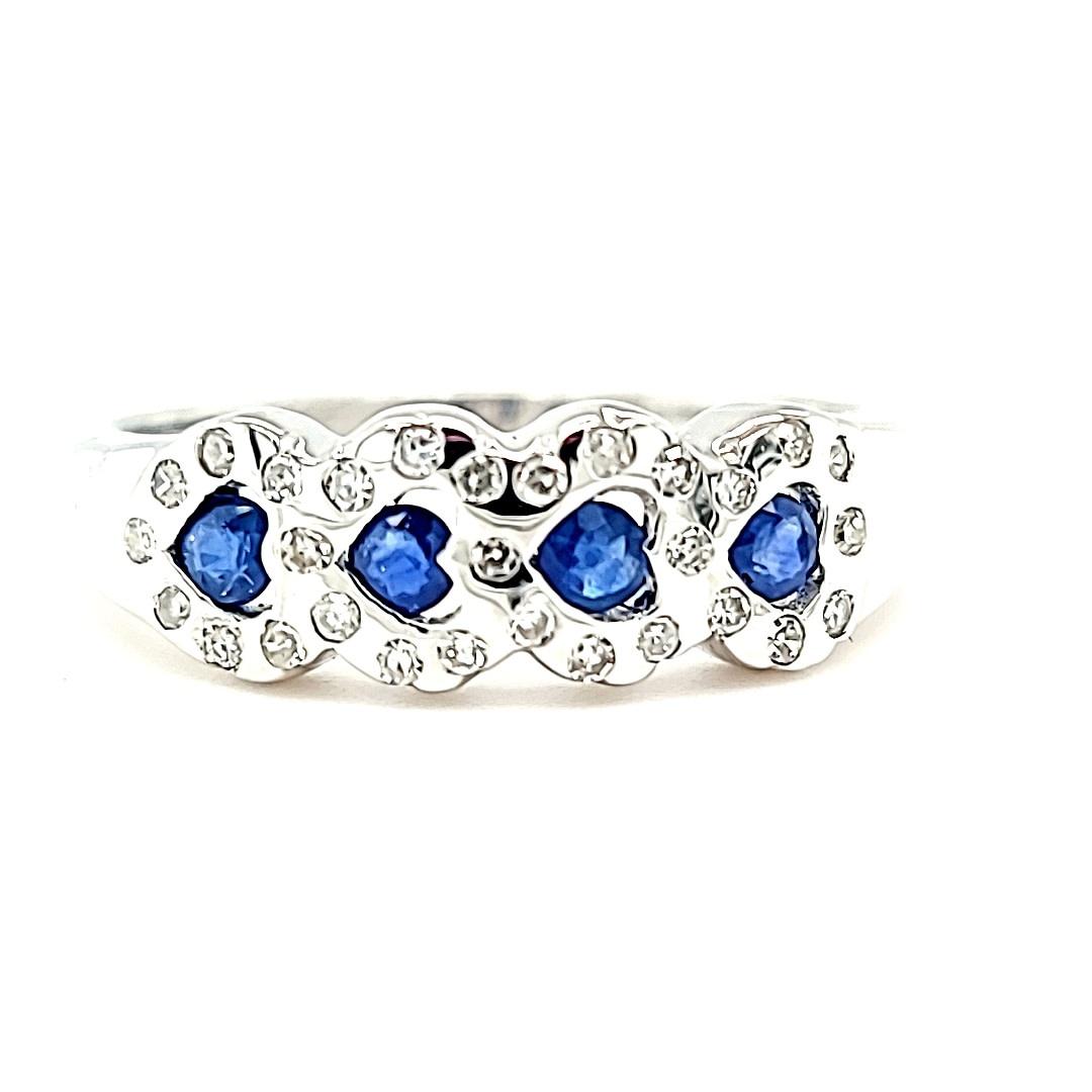 14KW Diamond and Sapphire Heart Band