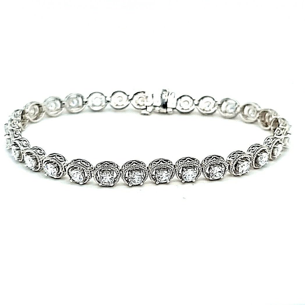 """14KW Cubic Zirconia Tennis Bracelet 7"""""""