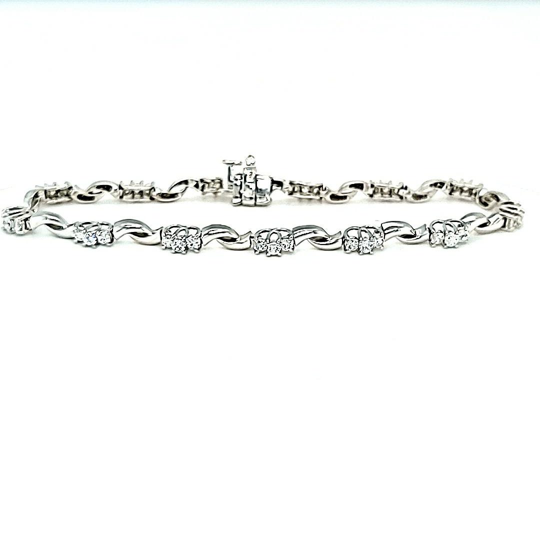 14KW Cubic Zirconia Tennis Bracelet