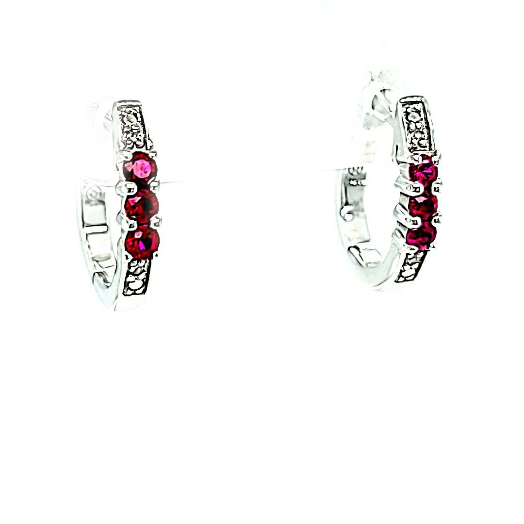 14KW 0.70cttw Ruby and Diamond Earrings