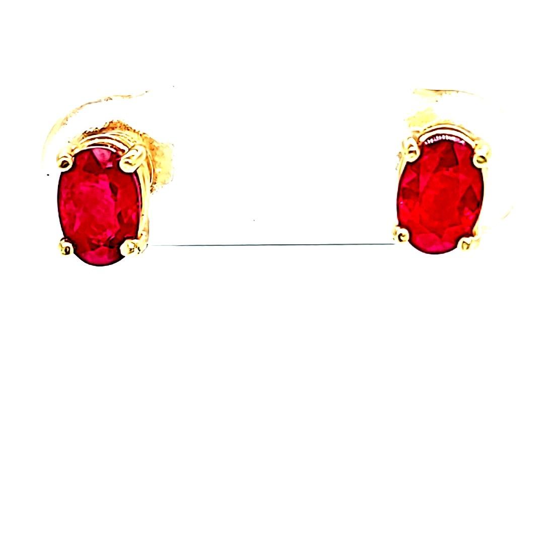 14KY 1.38cttw Oval Ruby Stud Earrings