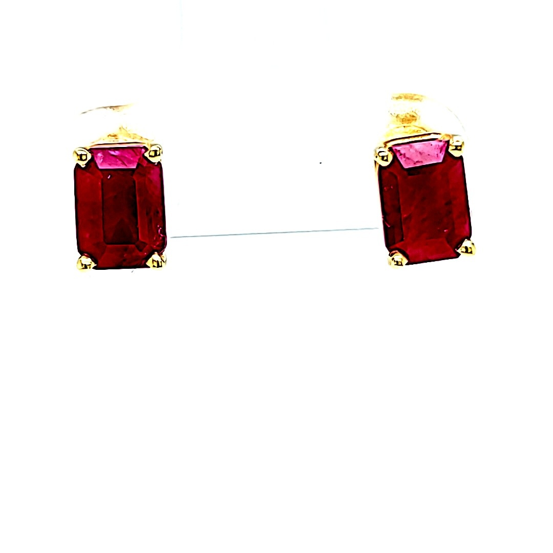 14KY Emerald Cut Ruby Stud Earrings