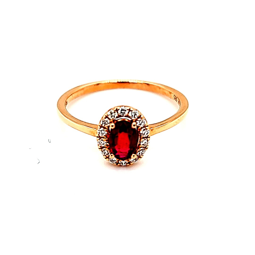 14KR .45CT Ruby Halo Fashion Ring