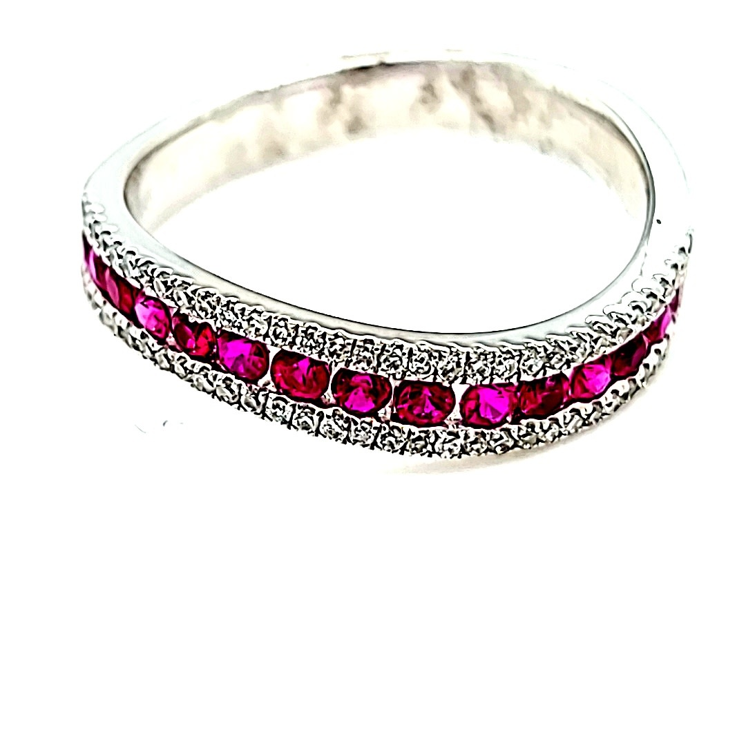 14KW Curved Fashion Ruby and Diamond Ring