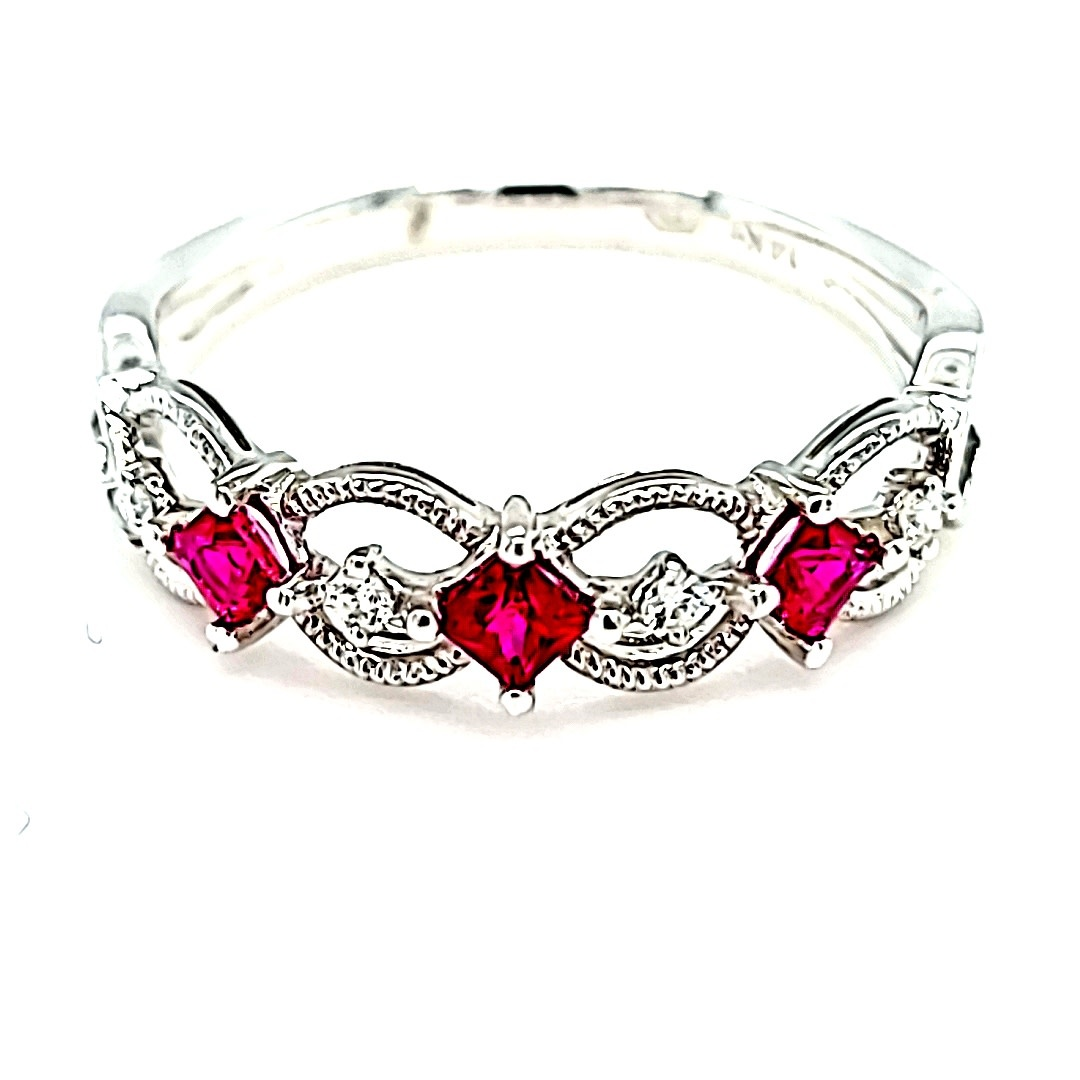 14KW Ruby and Diamond Stackable Ring