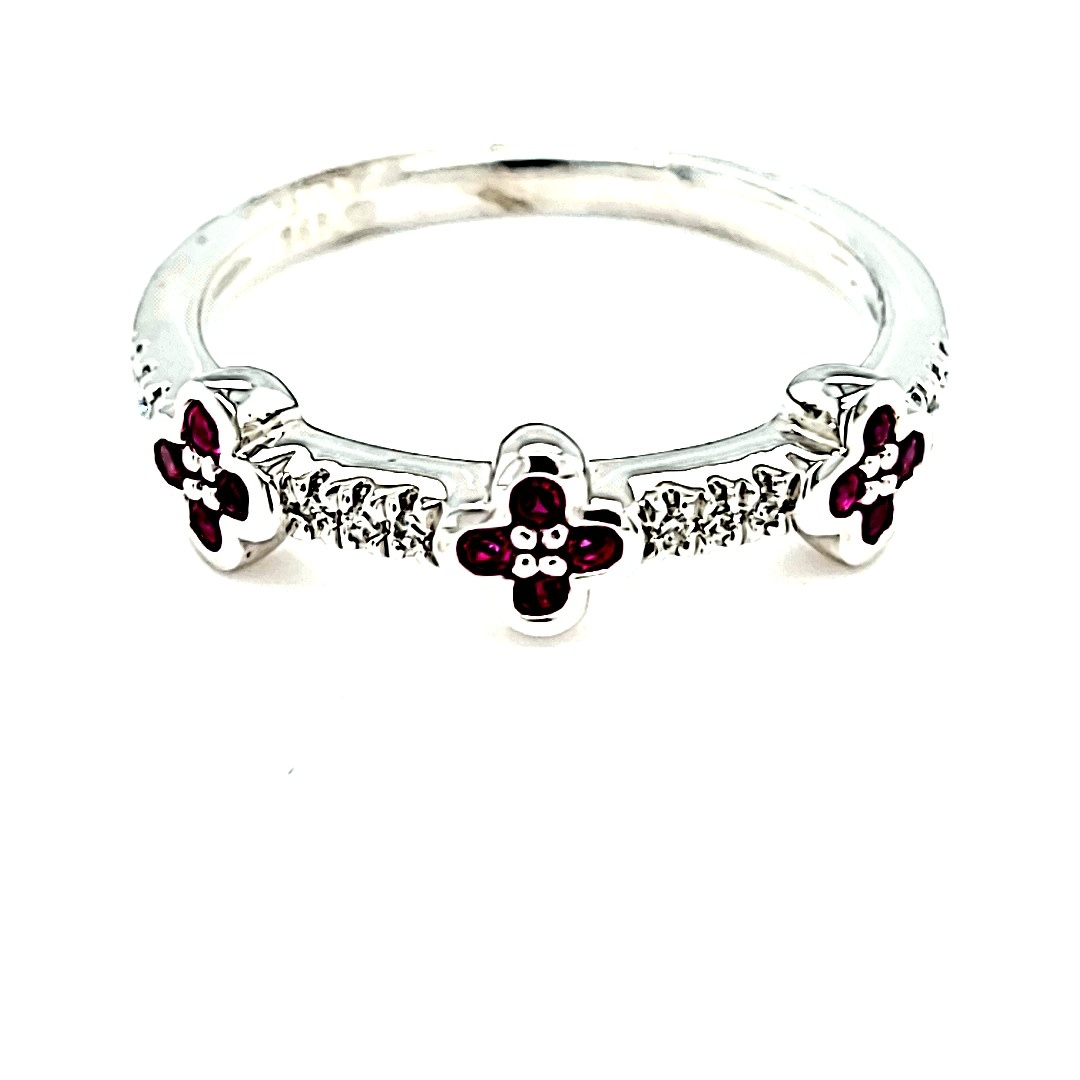 14KW Diamond and Ruby Clover Stackable Fashion Ring