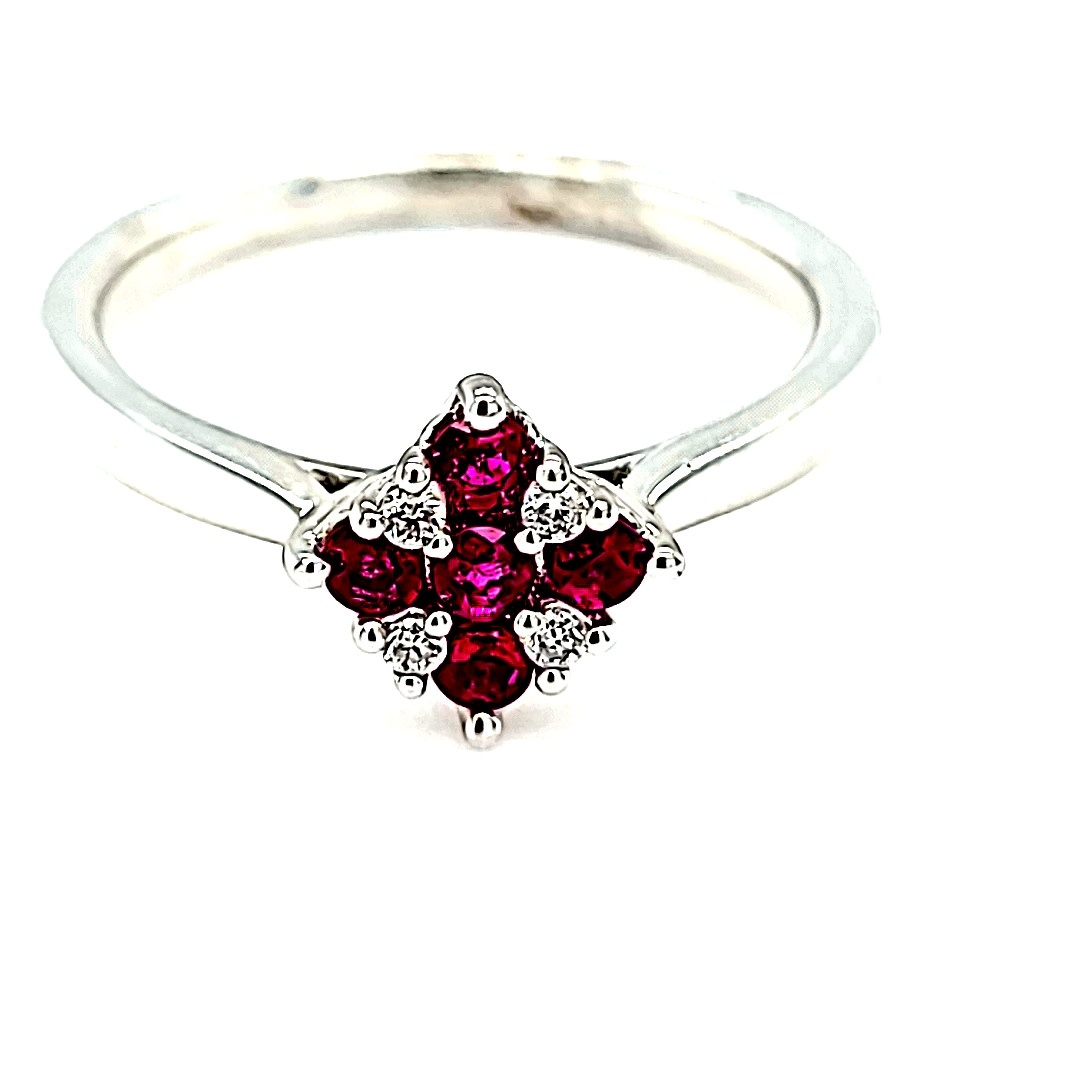 14KW Ruby and Diamond Cluster Fashion Ring