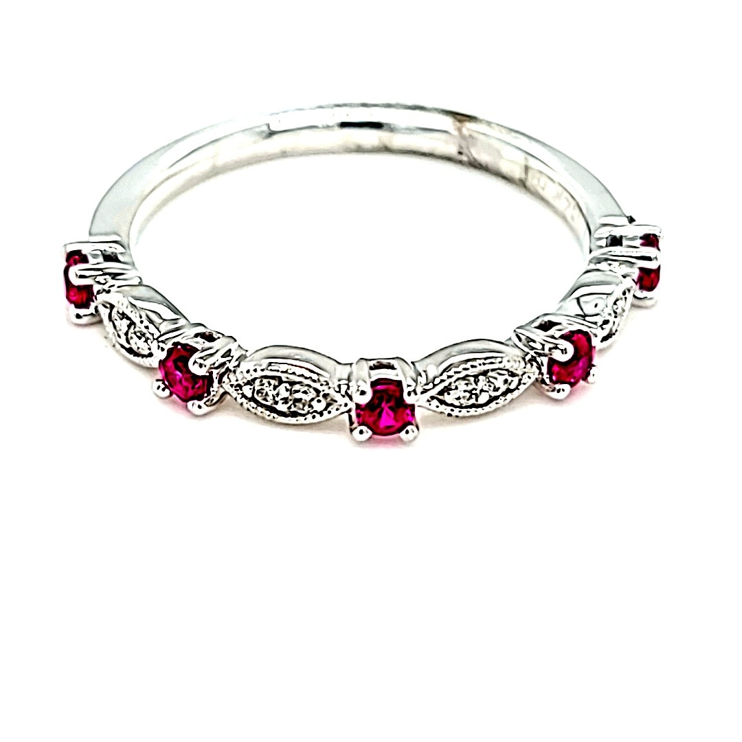 14KW Diamond and Ruby Stackable Fashion Ring
