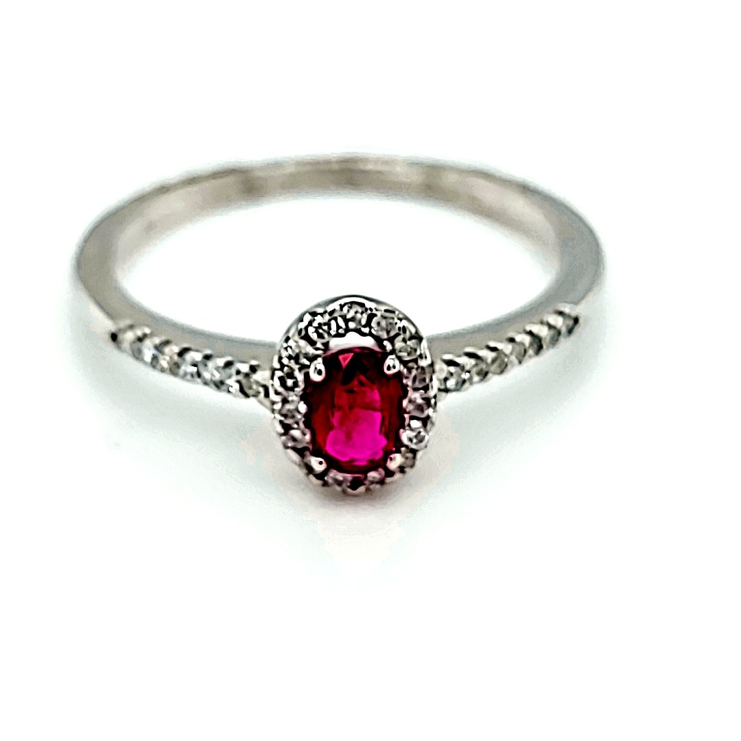 14KW Ruby and Diamond Halo Ring