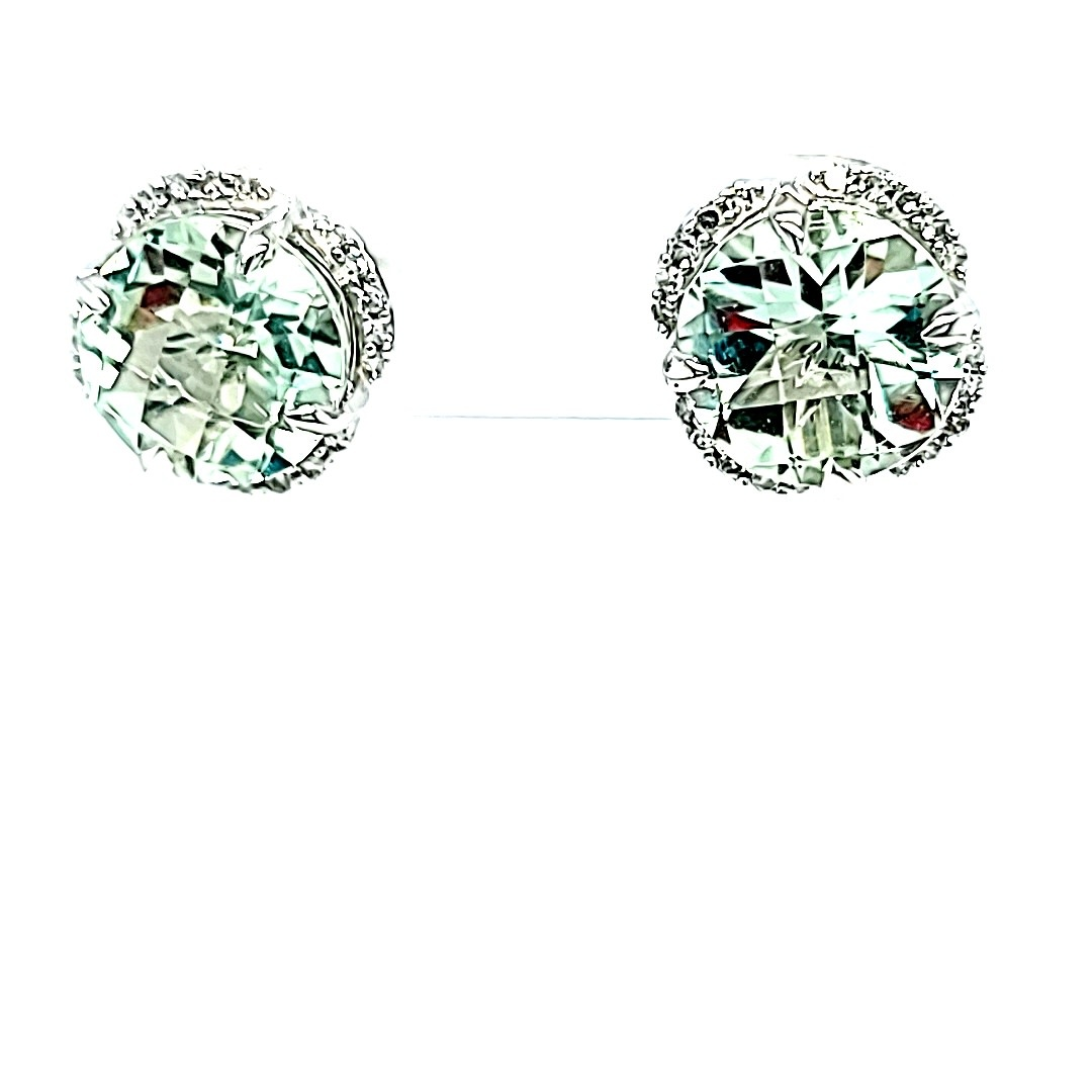 14KW Green Amethyst Earrings With Diamond Accents