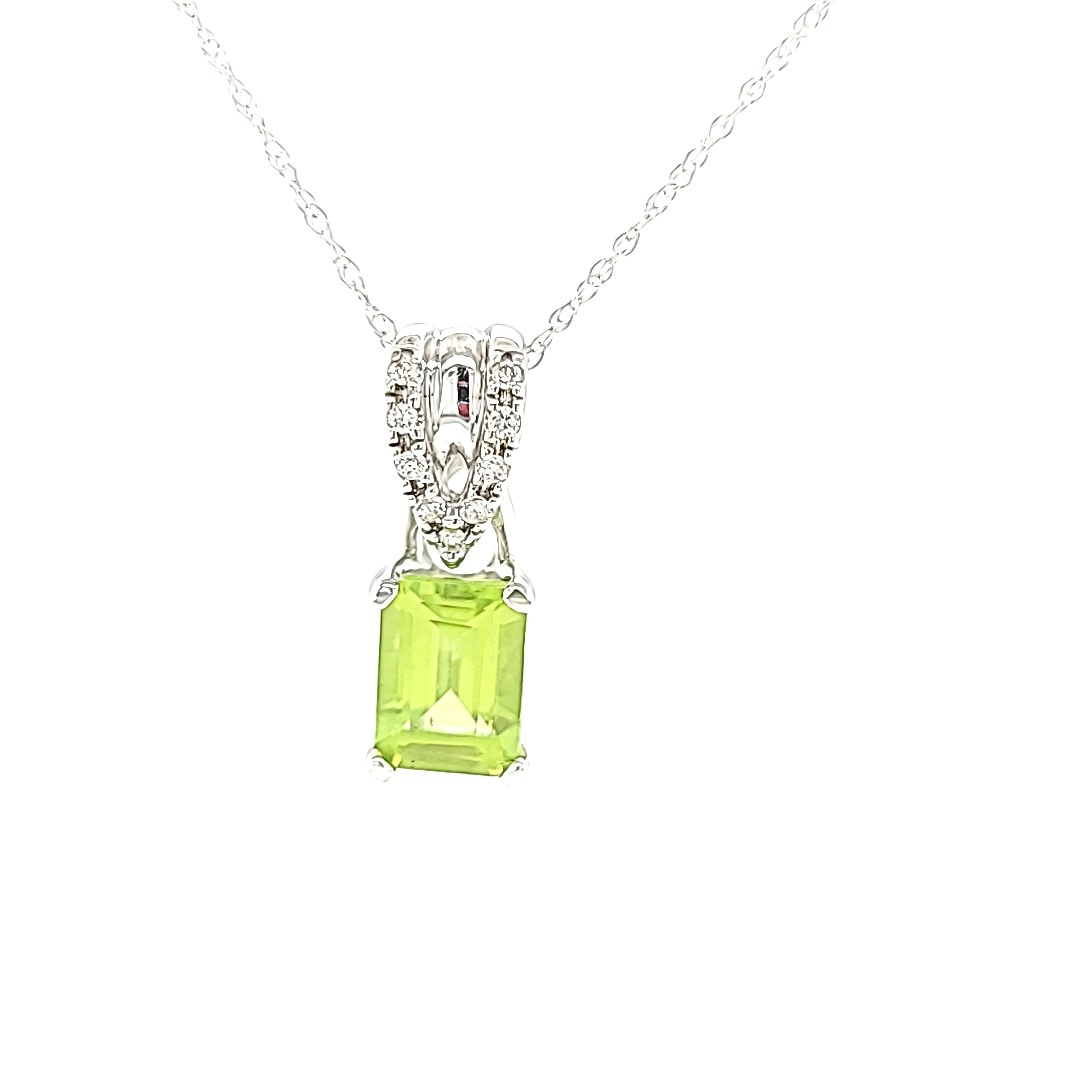 14KW Emerald Cut Peridot Pendant With Diamond Accents