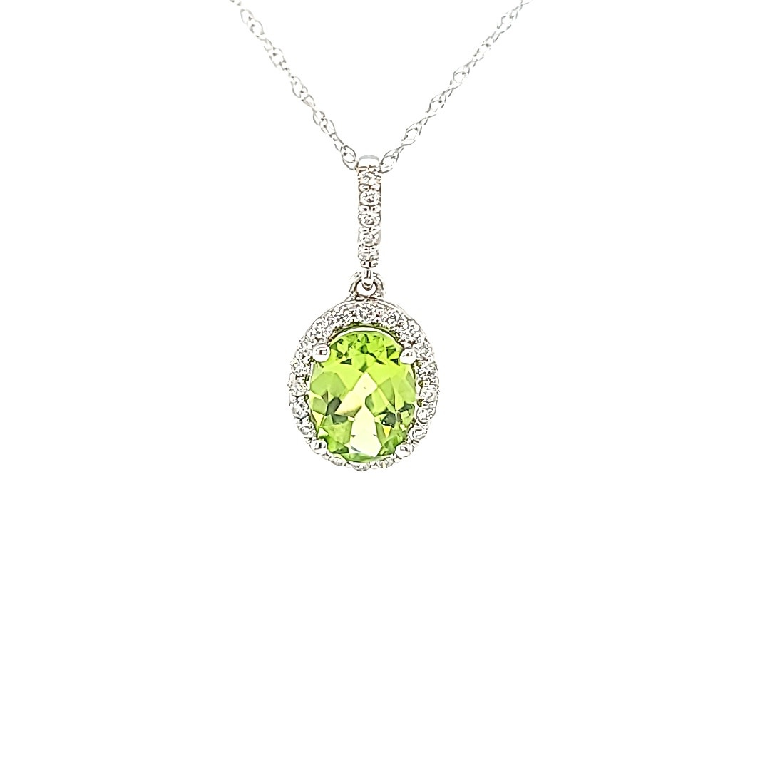 14KW Peridot Pendant With a Diamond Halo