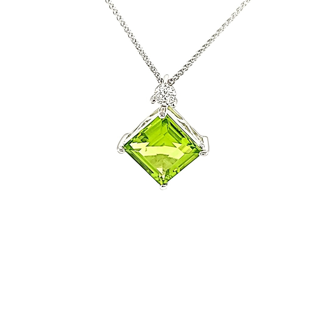 14KW Princess Cut Peridot and Diamond Pendant