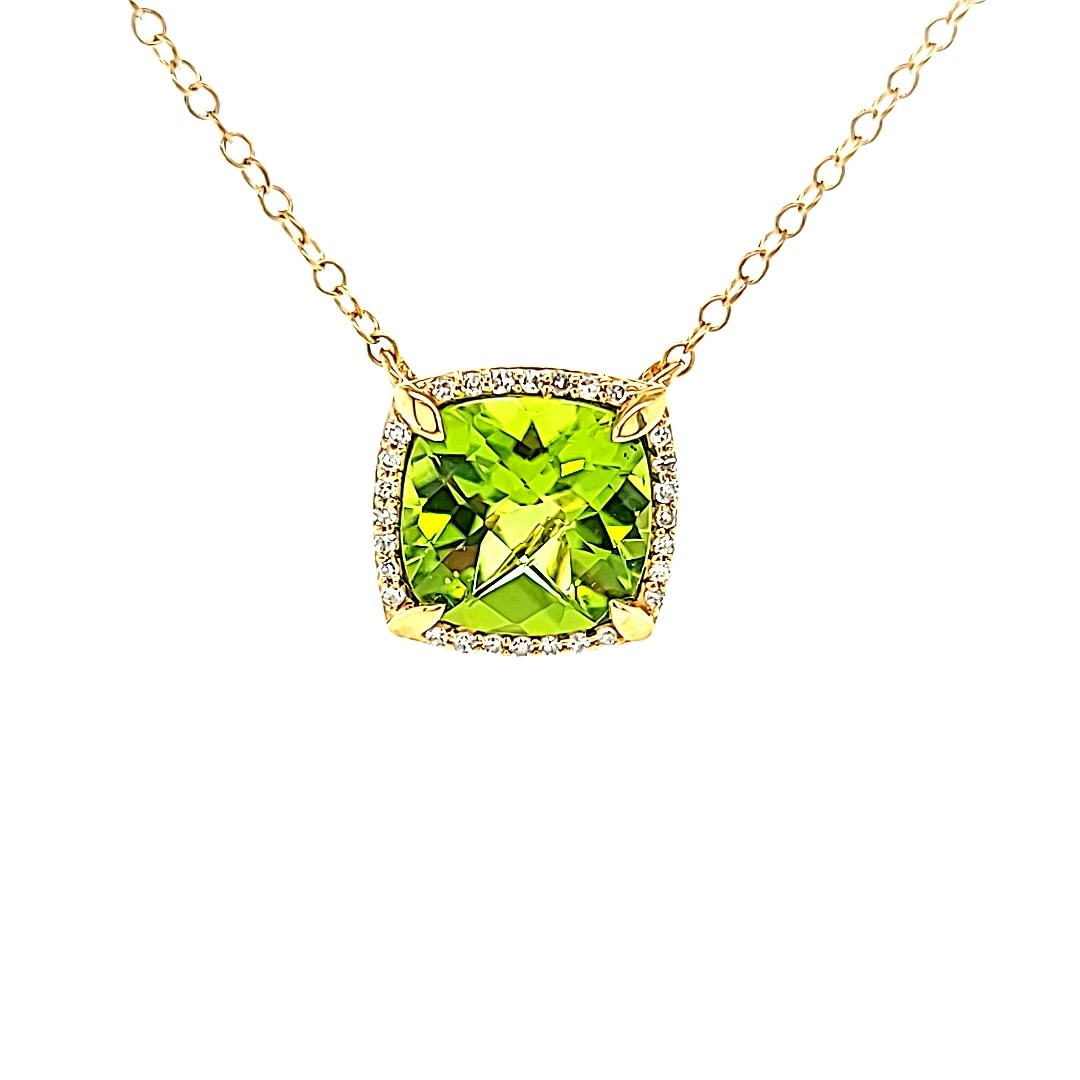 14KY Peridot and Diamond Halo Pendant