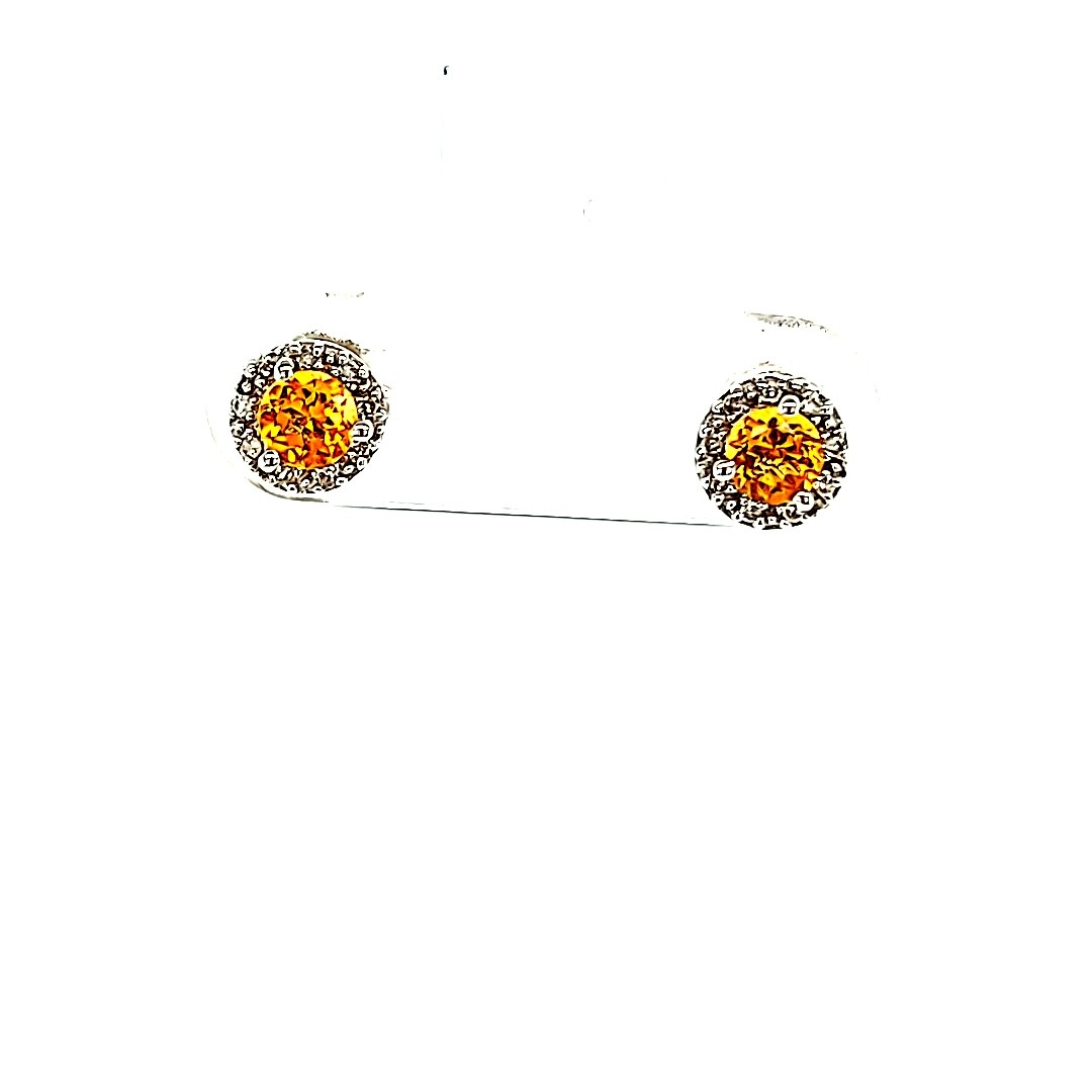 14KW Citrine Halo Stud Earrings