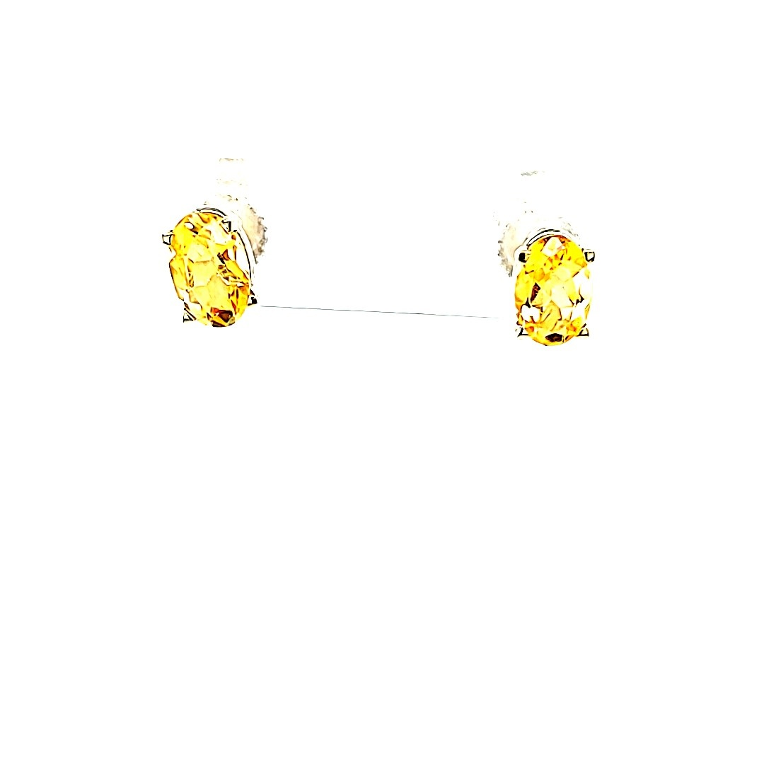 14KW .78cttw Oval Citrine Stud Earrings