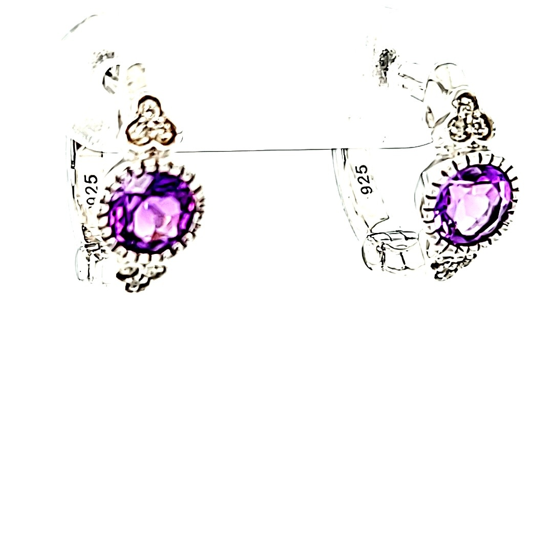 .925 Small Amethyst Hoop Earrings