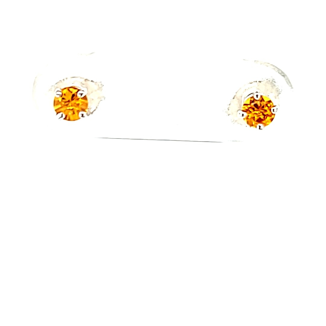 14KW 0.25cttw Round Citrine Stud Earrings