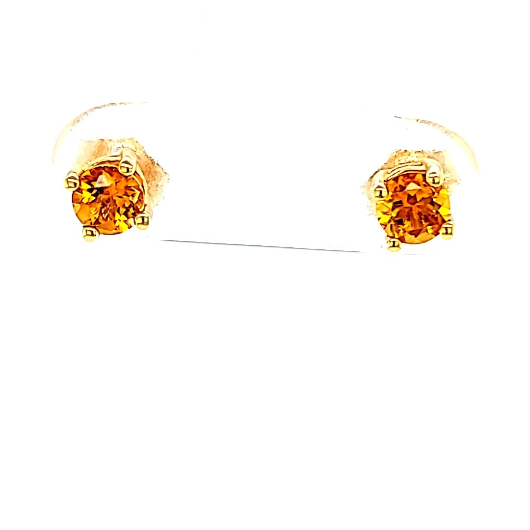 14KY Round Citrine Stud Earrings