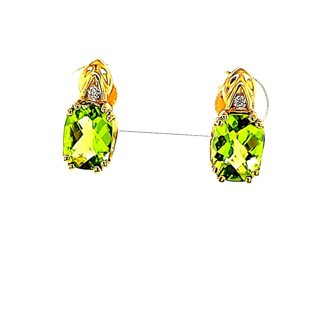 14KY Peridot Stud Earrings With Diamond Accents