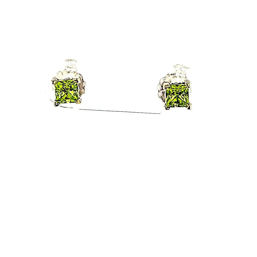 14KW Peridot Princess Cut Stud Earrings