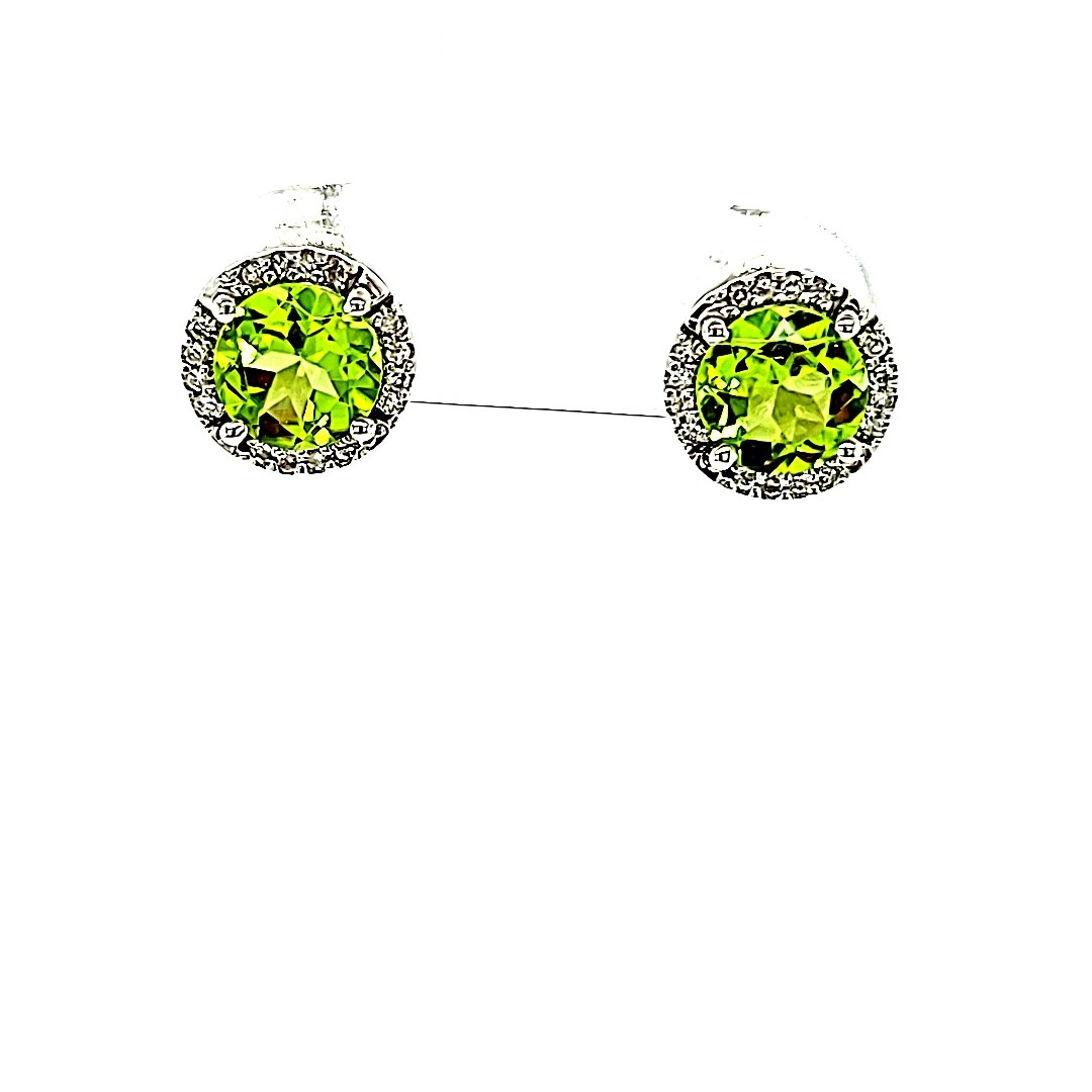 14KW Round Peridot Halo Stud Earrings