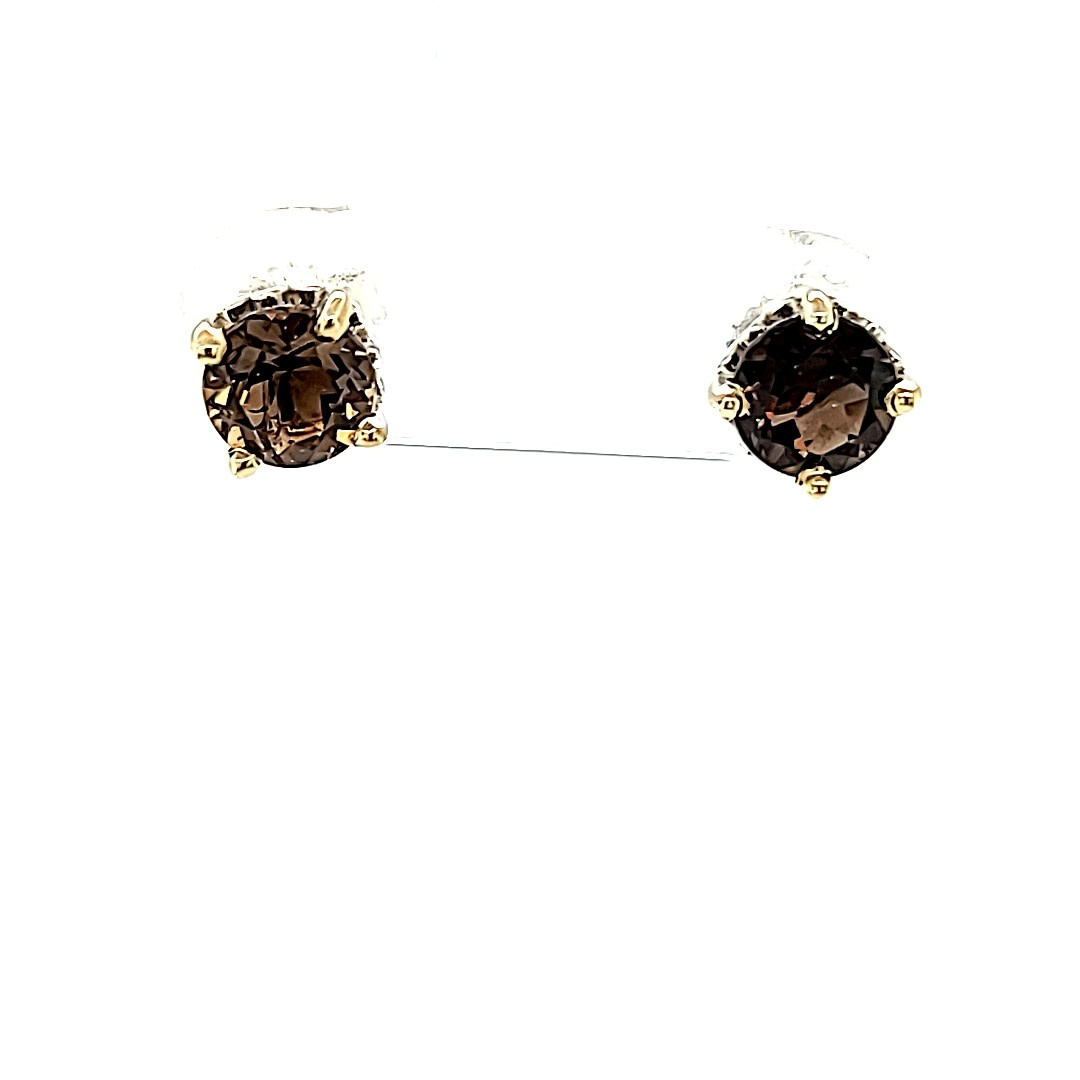 14KW Round Smoky Quartz Stud Earrings