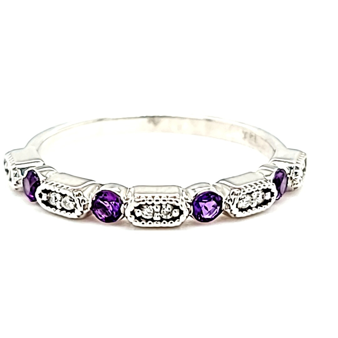14KW Amethyst and Diamond Stackable Ring