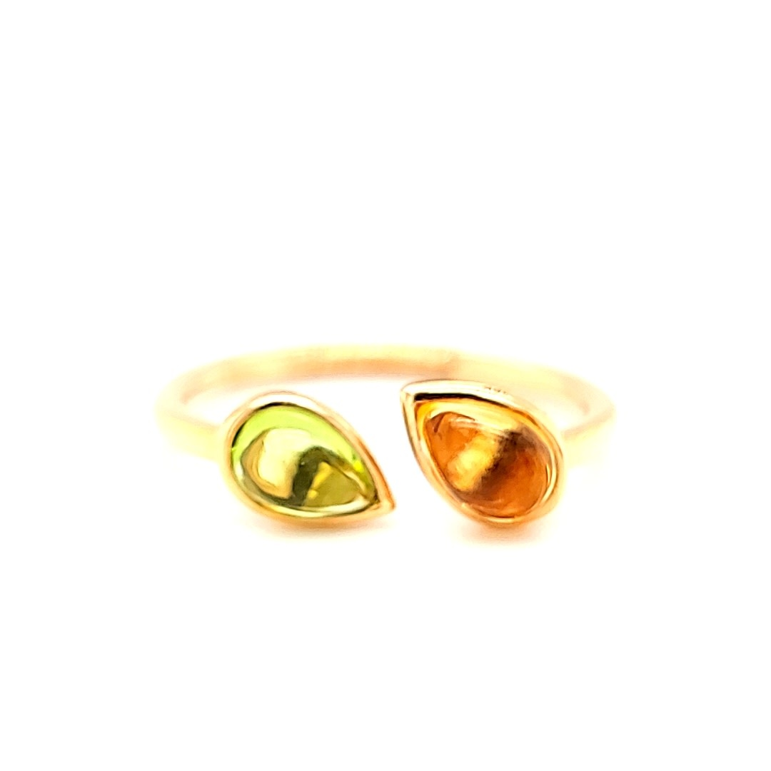 18KR Peridot and Citrine Bypass Ring
