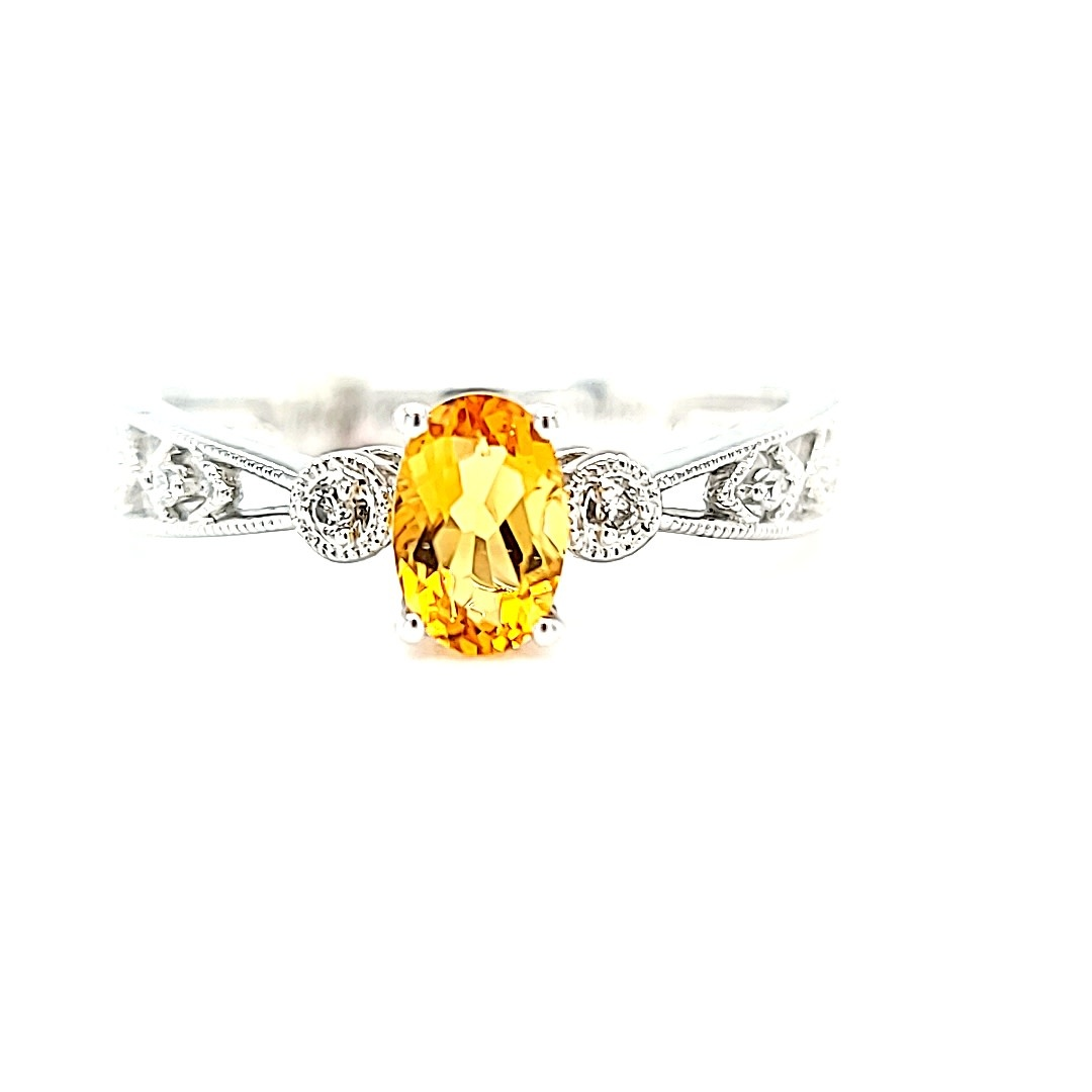 14KW Oval Citrine and Diamond ring