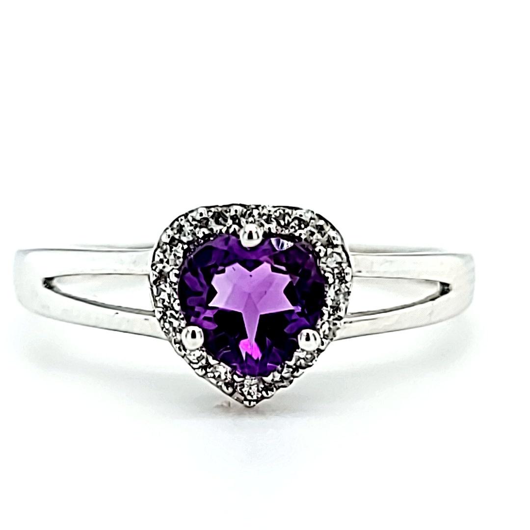 14KW Heart Amethyst Fashion Halo Ring