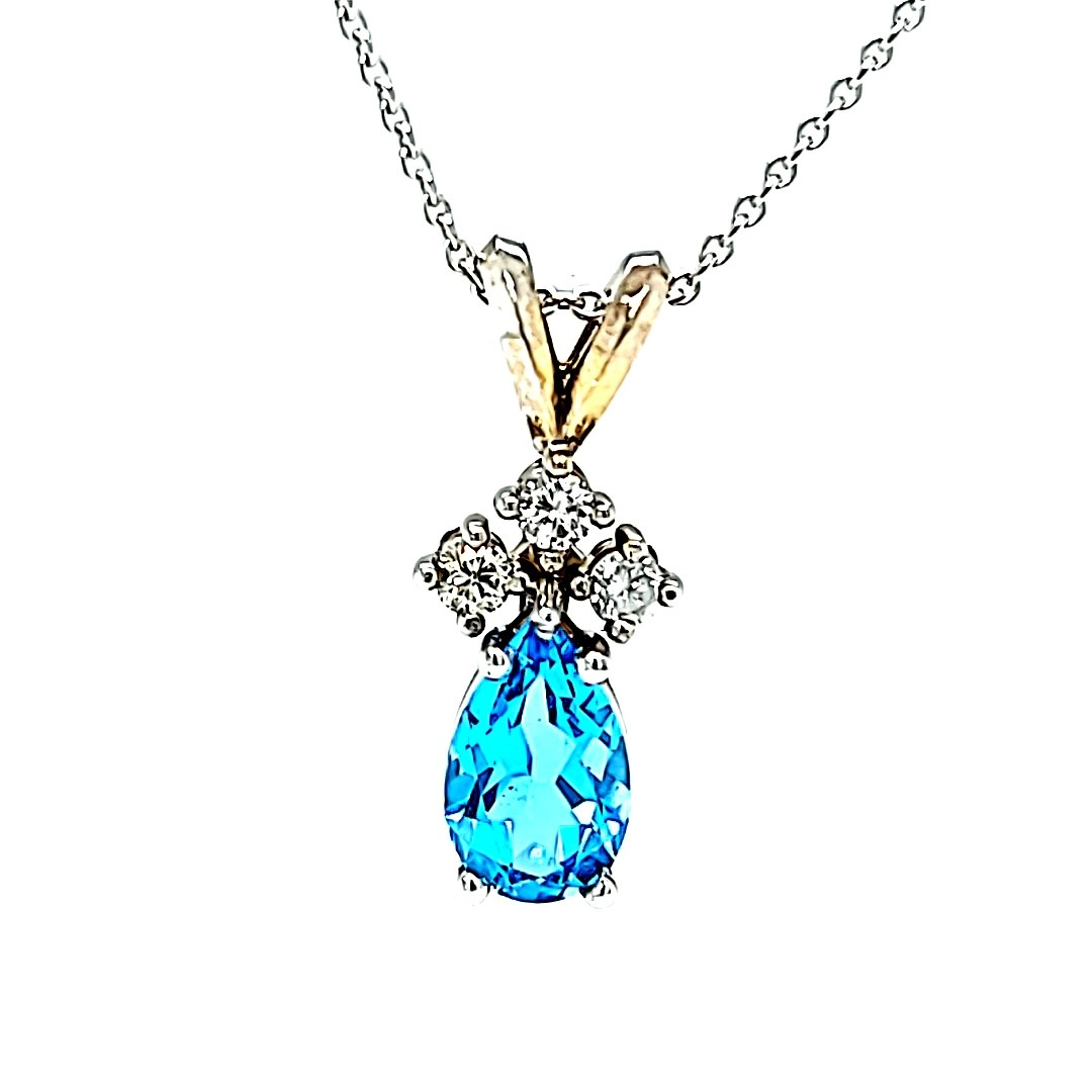 14KW Blue Topaz and Diamond Accent Pendant