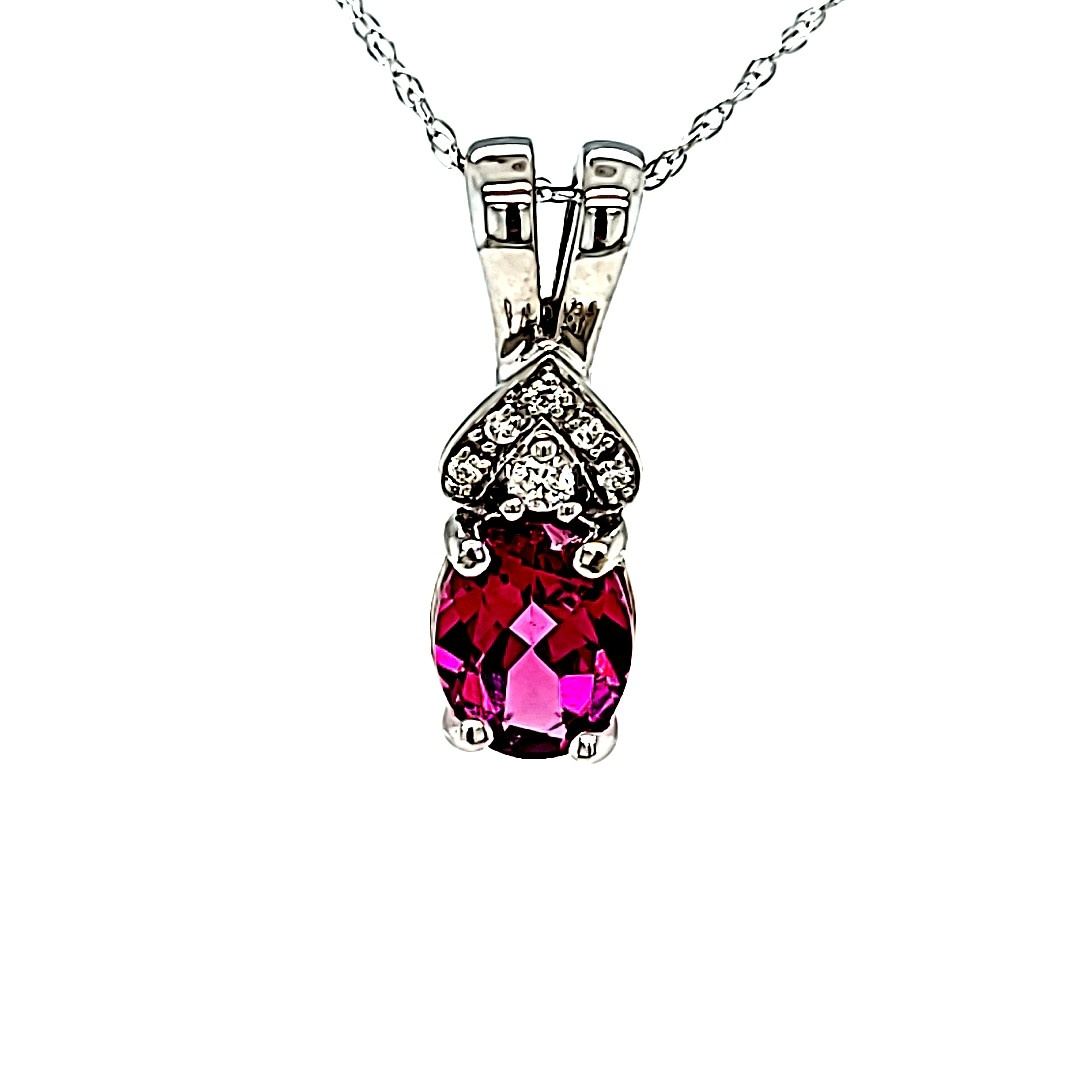 14KW Oval Rhodolite Pendant With Diamond Accents