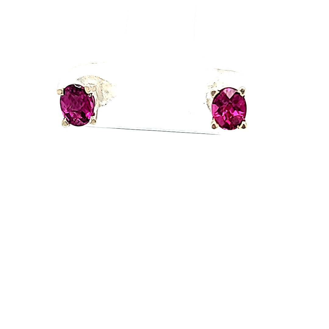 .925 Oval Rhodolite Garnet Stud Earrings